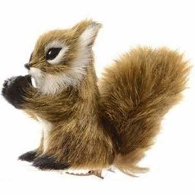 Lichtbruine eekhoorn kerstversiering clip decoratie 8 cm