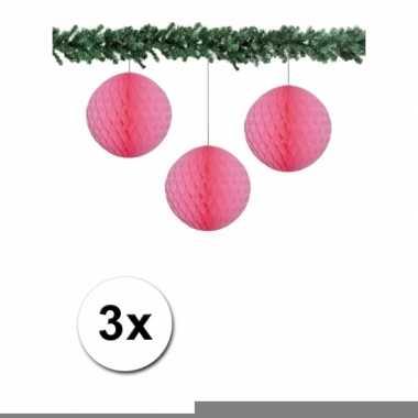 Lichtroze kerstversiering ballen van papier 10 cm 3 stuks