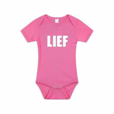 Lief tekst rompertje roze baby