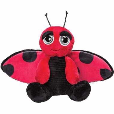 Lieveheersbeestjes speelgoed artikelen knuffelbeest rood/zwart 18 cm