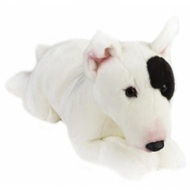 Liggend honden knuffeltje bull terrier 36 cm met kraalogen
