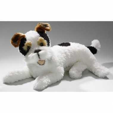 Liggende pluche knuffel fox terrier 42 cm