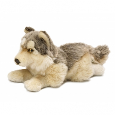 Liggende wolven knuffels 25 cm