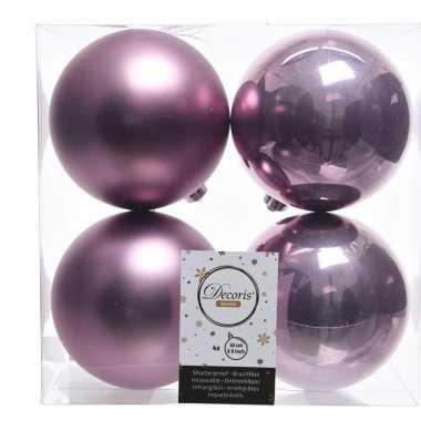 Lila paarse kerstversiering kerstballen kunststof 10 cm