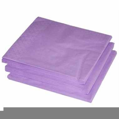 Lila paarse kleur papieren servetten 33 x 33 cm