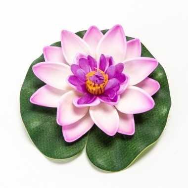 Lila paarse lotus/waterlelie kunstbloem 10 cm