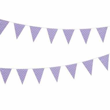 Lila vlaggenlijn met witte stippen 4 meter