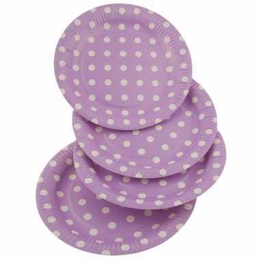 Lila wegwerp bordjes met witte stippen 8x