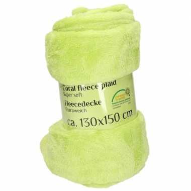 Lime fleece deken 130 x 150 cm