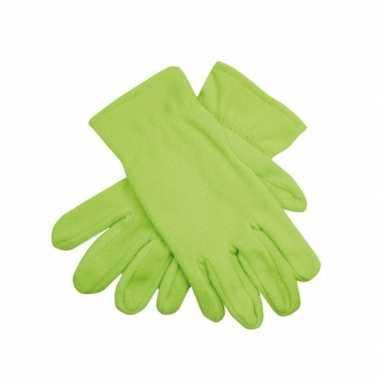 Limegroene fleece handschoenen