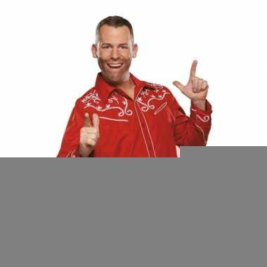 Line dancing overhemd rood voor heren