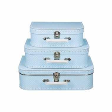 Logeerkoffer licht blauw/wit 35 cm