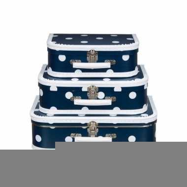 Logeerkoffer navy/wit 30 cm