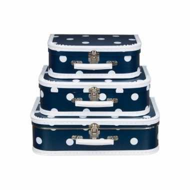 Logeerkoffer navy/wit 35 cm