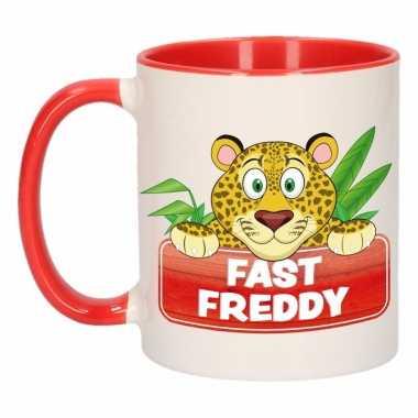 Luipaard theebeker rood / wit fast freddy 300 ml