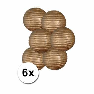 Luxe ronde lampionnen goud 6x