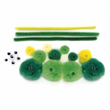 Maak je eigen groene rups van pompons pakket