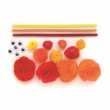 Maak je eigen rode rups van pompons hobby pakket