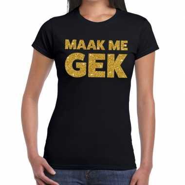 Maak me gek glitter tekst t-shirt zwart dames