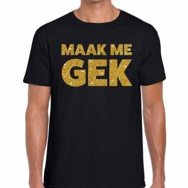 Maak me gek glitter tekst t-shirt zwart heren