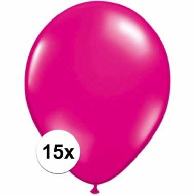 Magenta roze decoratie ballonnen 15 stuks