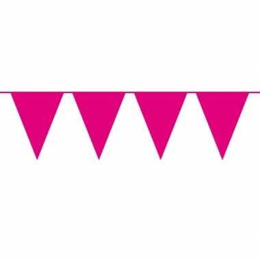 Magenta roze vlaggentjes slinger 10 meter
