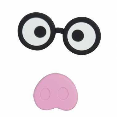 Magneten setje van 2 stuks bril met varkensneus