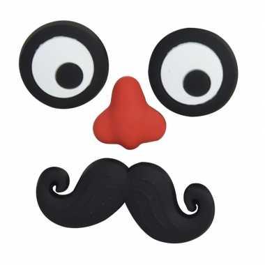 Magneten setje van 4 stuks ogen met neus en snor