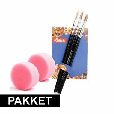 Make-up penselenset van 3 met 2 sponsjes