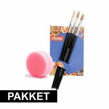 Make-up penselenset van 3 met sponsje
