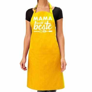 Mama kookt het beste keukenschort geel voor dames / moederdag