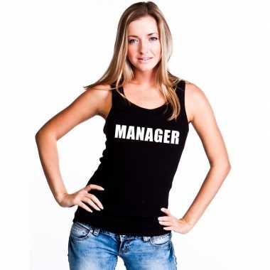 Manager tekst singlet shirt/ tanktop zwart dames