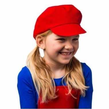 Mario kinder verkleed pet/muts rood