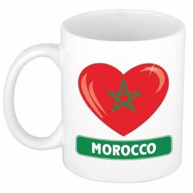 Marokkaanse vlag hartje theebeker 300 ml