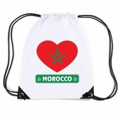 Marokko hart vlag nylon rugzak wit