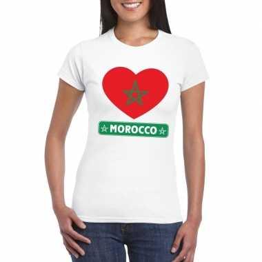 Marokko hart vlag t-shirt wit dames