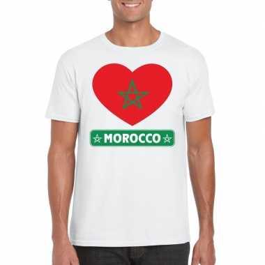 Marokko hart vlag t-shirt wit heren