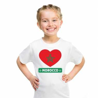 Marokko hart vlag t-shirt wit jongens en meisjes