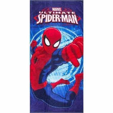 Marvel spiderman badlaken/strandlaken blauw 70 x 140 cm