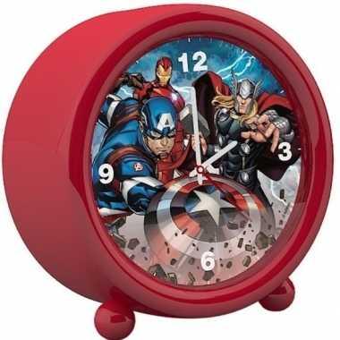 Marvel the avengers kinder wekker/klokje rood 11,5 x 12 cm