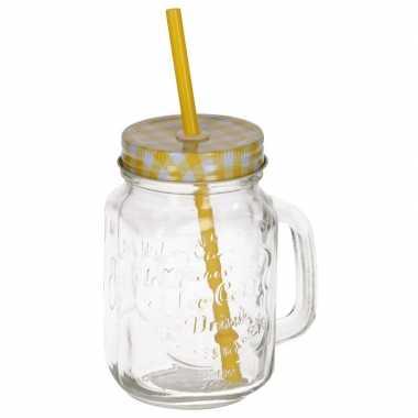 Mason jar/smoothie beker geel met rietje 500 ml