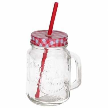 Mason jar/smoothie beker rood met rietje 500 ml
