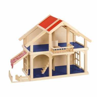 Massief houten poppenhuis met balkon voor kinderen