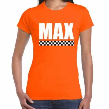 Max coureur supporter / finish vlag t-shirt oranje voor dames