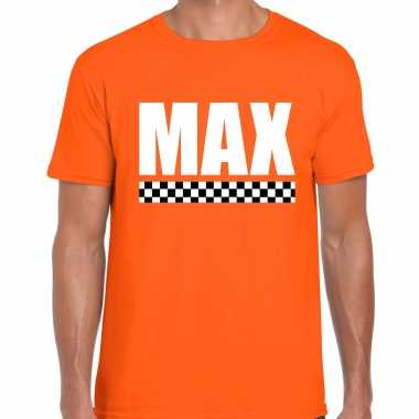 Max coureur supporter / finish vlag t-shirt oranje voor heren