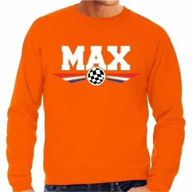 Max coureur supporter tekst sweater oranje voor heren
