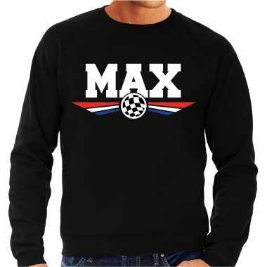 Max racecoureur sweater / trui zwart voor heren