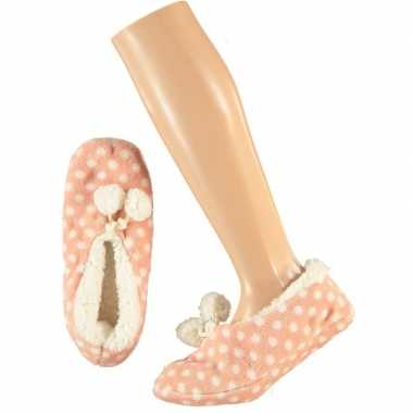 Meisjes ballerina pantoffels/sloffen stippen roze maat 34-36