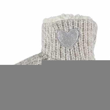 Meisjes hoge sloffen/pantoffels met hart grijs maat 27-28