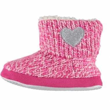 Meisjes hoge sloffen/pantoffels met hart roze maat 27-28